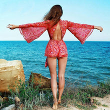 Load image into Gallery viewer, Sexy Backless Lace-up Floral Summer Jumpsuit Romper