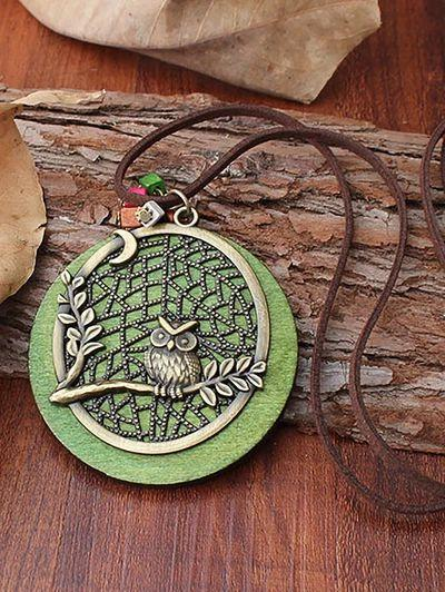 Owl Alloy Pendant with Jewelry Wooden Necklace Long Sweater Chain