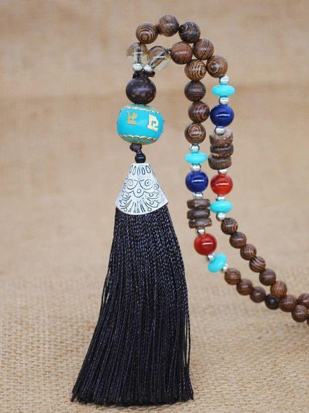 Literary Tassel Necklace Original Beaded Sweater Chain Hemp Cotton Accessories Ethnic Nepal Pendant