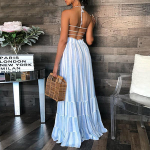 Sexy Striped Halter Neck Spaghetti Strap Sundress Maxi Dress