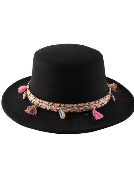 Women's New Woolen Retro Flat Top Hat