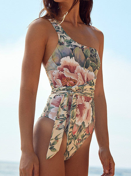 One Shoulder Floral One Piece Swimsuit Bandage for Women