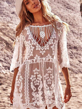 Load image into Gallery viewer, Loose Fit Monochrome Holiday Sunscreen SEXY LACE BIKINI SWIMSUIT Cover Up Beach Pullover Dress