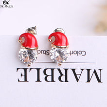 Load image into Gallery viewer, Christmas Earrings Inlaid with Zircon Christmas Party Santa Claus Studs