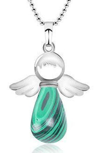 Little Angel Wing Round Drop Natural Stone Jewelry Pendant Necklace