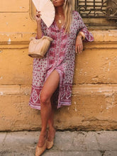 Load image into Gallery viewer, Loose Floral Print Bohemian Button Gypsy Party Midi Dress