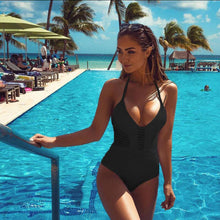 Load image into Gallery viewer, Solid Color 3 Colors Choose Fashion Sexy Hollow Out One Piece Swimwear Swimsuit Beachwear Monokini
