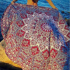 Fashion Beach Cover Up Beach Mat Floral Print Vacation Cover-up