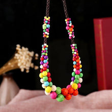 Load image into Gallery viewer, Bohemia Natural Stone Pendants Ethnic Handmade Colorful Rope Chain Beaded Choker Necklace