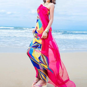 140x190cm Pareo Scarf Women Beach Sarongs Beach Cover Up Summer Chiffon Scarves Geometrical Design Plus Size Towel