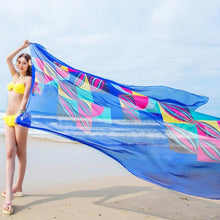 Load image into Gallery viewer, 140x190cm Pareo Scarf Women Beach Sarongs Beach Cover Up Summer Chiffon Scarves Geometrical Design Plus Size Towel