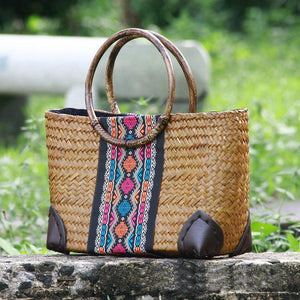 Thailand Straw women retro fashion rattan bag travel beach casual handbag