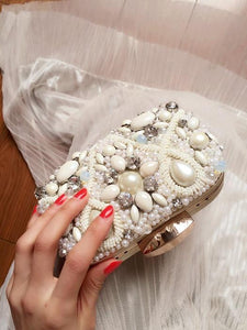 White Luxurious Custom Imitation diamond dinner Pearl hand bag ladies party Small bag