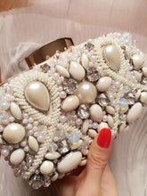 Load image into Gallery viewer, White Luxurious Custom Imitation diamond dinner Pearl hand bag ladies party Small bag