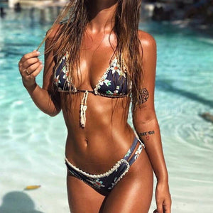 Dark Blue Hand-woven shell with split-body printing bathing suit Low Waist Swimwear-Women