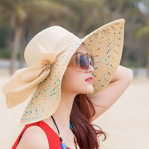 Large Brim Dots Floppy Hat Sun Hat Beach Women Hat Foldable Summer UV Protect Travel Casual Hat Female