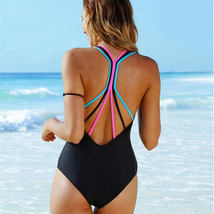 Women Swimwear Bikini One Piece Push-Up Padded Bathing Backless Beachwear