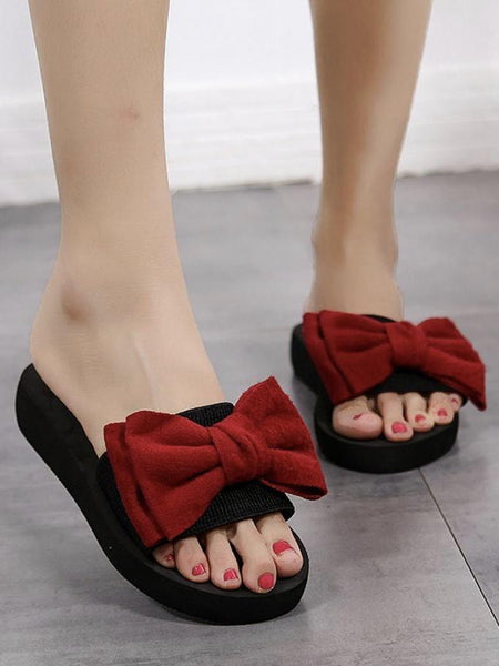 Cute Women Bow Summer Sandals Slipper Indoor Outdoor Flip-flops Beach Shoes