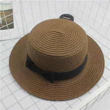 Load image into Gallery viewer, Fashion Sun hat Cute Bow sun hats  hand made women straw cap beach big brim hat casual summer cap
