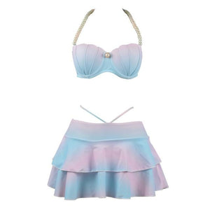 LEBESI Two Piece Bikini Set Swimsuit Pearl Halter Top Underwire Push Up Shell High Waisted Swimming Suit