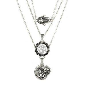 Alloy Moon Sun Choker Fashion Palm Multi-Layer Pendant Necklace For Women
