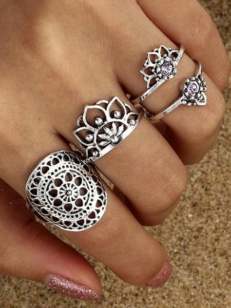 Boho Ring Set Purple Stone Lotus Flower Rings Crystal Tribal Knuckle Rings 4pc set