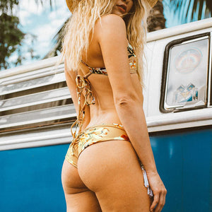 Golden Beach Flora Print Bikini Set Women Triangle Tassel Halter Thong Bikini Swimwear
