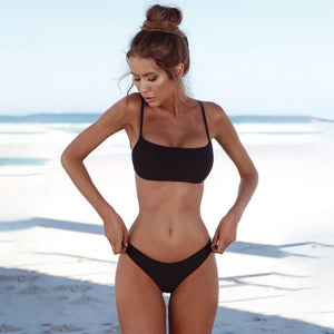 Summer Women Solid Bikini Set Push-up UnPadded Bra Swimsuit Swimwear Triangle Bather Suit Swimming Suit