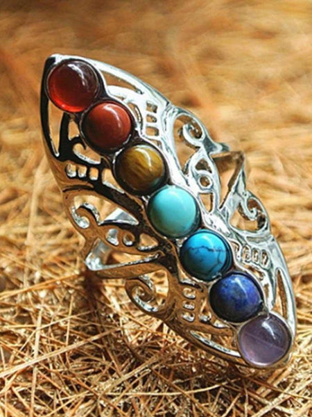 7 Chakra Healing Hollow Thumb Reiki Natural Stones Adjustable Ring