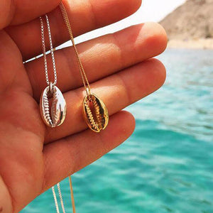 FAMSHIN Vintage Fashion Gold Silver Color Conch Shell Necklace Shape Pendant Simple Seashell Boho Jewelry
