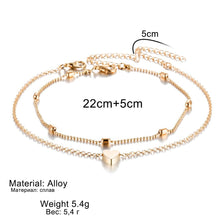 Load image into Gallery viewer, Simple Heart Anklets Barefoot Crochet Foot Jewelry  Anklets Foot Chain