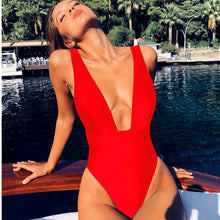 Load image into Gallery viewer, Sexy High Cut Deep V Neck Swimwear Solid One Piece  Solid Color Swimsuit High Waist Monokini Black Red