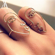 Load image into Gallery viewer, 2PCS/Set Hip Hop Unique Abstract Face Ring Set Hollow Minimalist Matching Half Face Rings for Women Anillos Mujer Couple Ring