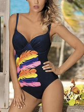 Load image into Gallery viewer, Vintage One Piece Swimsuit Retro Swimwear Ruffle Monokini Criss cross Back Pink Maillot De Bain Bath Suit Beach Wear