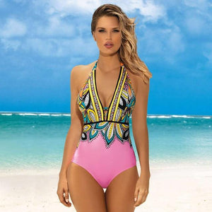Vintage One Piece Swimsuit Retro Swimwear Ruffle Monokini Criss cross Back Pink Maillot De Bain Bath Suit Beach Wear