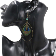 Load image into Gallery viewer, Boho Vintage Feather Peacock Metal Circle Earring Jewelry