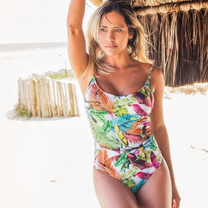 Bright Color One Piece Swimsuit Hollow Swimwear Women Monokini Print Bodysuit Vintage Beach Wear