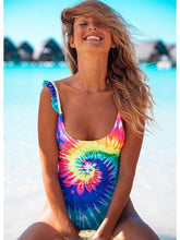 Load image into Gallery viewer, Bright Color One Piece Swimsuit Hollow Swimwear Women Monokini Print Bodysuit Vintage Beach Wear
