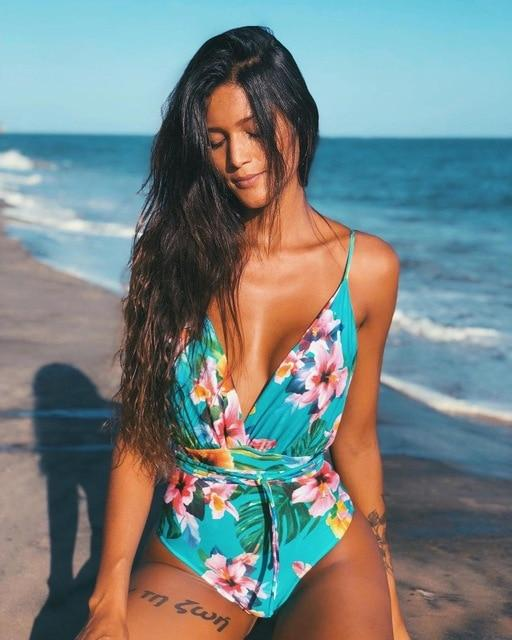 Solid Color Sexy Deep V One Piece Swimsuit  Backless Bodysuit Monokini Swimwear