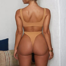 Load image into Gallery viewer, High cut Solid Color buckle bikini thong bathers sexy swimsuit one piece bodysuit Plus size monokini