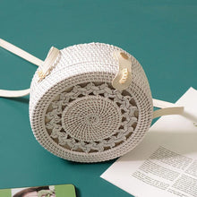 Load image into Gallery viewer, White Round Rattan Women Boho Beach Crossbody Bag Straw Handmade Woven Circle Shoulder Bag