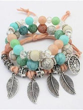 Load image into Gallery viewer, Fashion Vintage Ethnic Elasticity Marble Beads Boho Statement Leaves Bangle Bracelet