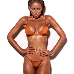 Women Tow Piece Swimsuit Padded Push Up Ladies Bikini Set Swimwear High Neck Bikinis Monokini