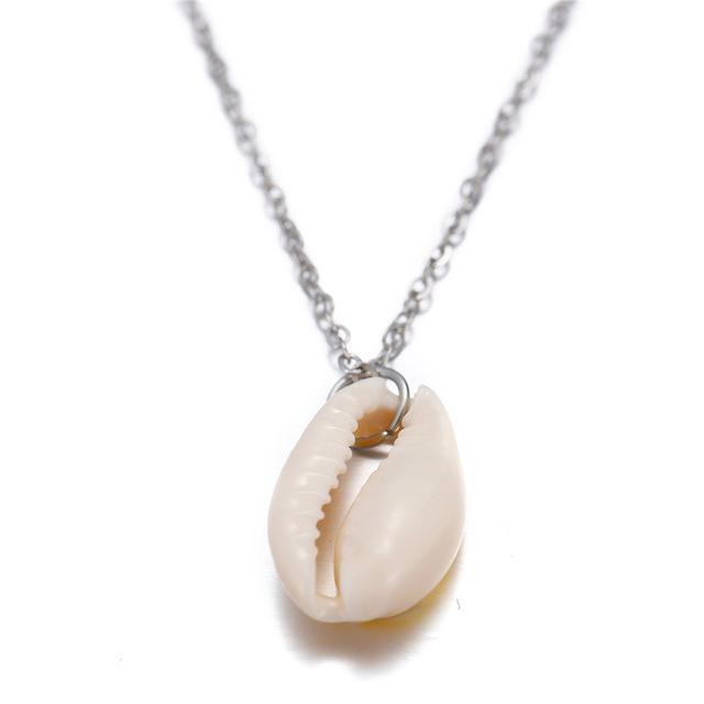 Bohemian Cowrie Conch Shell Pendant Necklace Simple Boho Shell Jewelry