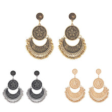 Load image into Gallery viewer, 3 Colors Bohemian Indian Antique Moon Shape Carved Flower Tassels Earrings