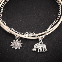 Load image into Gallery viewer, Vintage Star Elephant Boho Pendent Double Layer Beach Anklet Foot Jewelry