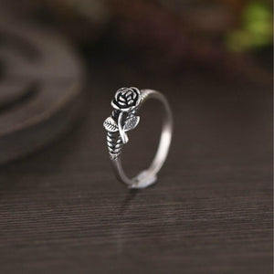 Vintage Sweet Simple Rose Solid Metal Ring