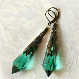 Vintage Green Dangle Geometric Natural Stone Crystal Drop Dangle Hook Stud Earrings