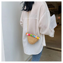 Load image into Gallery viewer, Bohemia Pompom Round Straw Women Summer Rattan Handmade Woven Beach Cross Body Bag