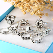 Load image into Gallery viewer, 14PCS Set Openwork Carved Rhinestone Water Drops Flowers Sunflower Moon Sun Rings